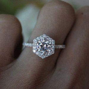 NEW 925 Sterling Silver Diamond Hexagon Halo Ring